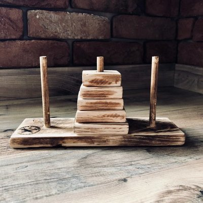 Daddy's Workshop - Handcrafted Wooden Towers of Hanoi Puzzle
