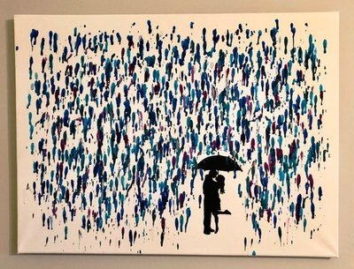 Daddy's Workshop - Melted Crayon Art Canvas, Couple in Rain Painting, Handmade Silhouette Painting with Melted Wax