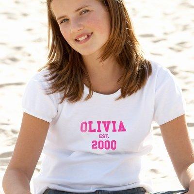 Personalised Established Pink Text Tshirt