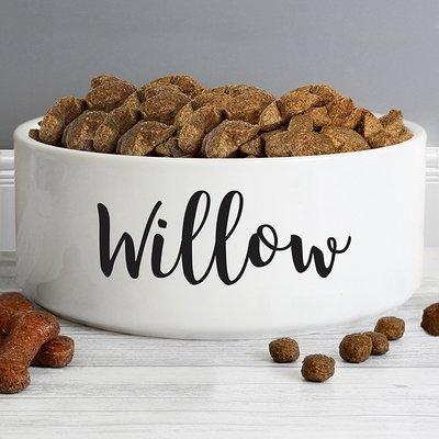 Personalised Any Name 16cm Large White Pet Bowl