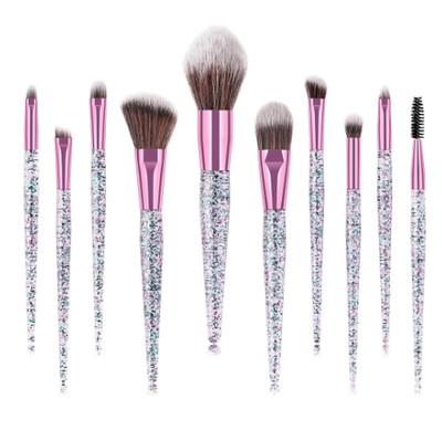10pcs Clear Glitter Rose-Gold Makeup Brush Set