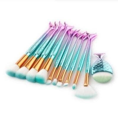 11pcs Fishtail Mermaid Purple-Green Makeup Brush Set