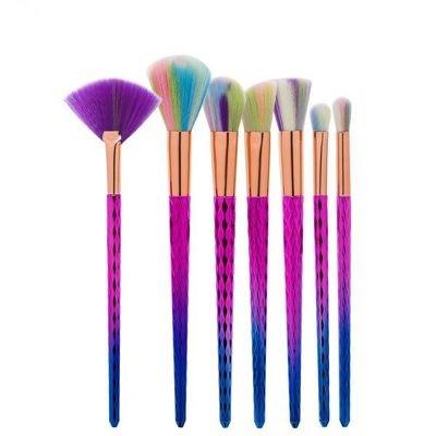 7pcs Purple-Blue Diamond Handle Unicorn Hair Makeup Brush Set