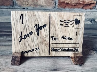 Daddy's Workshop - Handcrafted Wooden Oak Postcard - Personalised - Valentines/Birthday/Anniversary/Gift