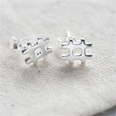 Sterling Hashtag Earrings