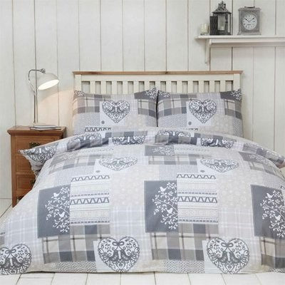 ALPINE PATCHWORK NATURAL BRUSHED COTTON DUVET SET