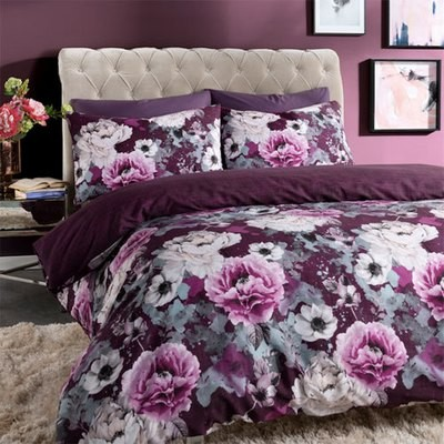 INKY FLORAL PURPLE REVERSIBLE DUVET SET