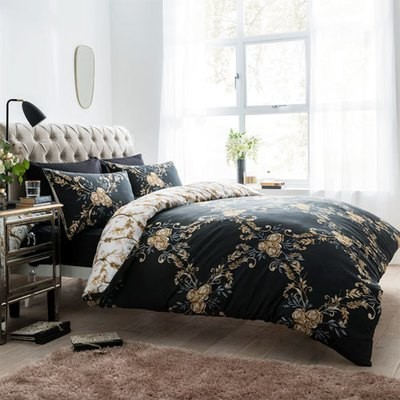 FLORAL DAMASK BLACK REVERSIBLE DUVET SET