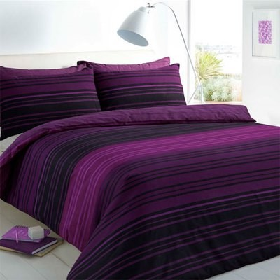 TEXTURED STRIPE PURPLE REVERSIBLE DUVET SET