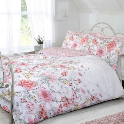 SKETCH FLORAL CORAL REVERSIBLE DUVET SET