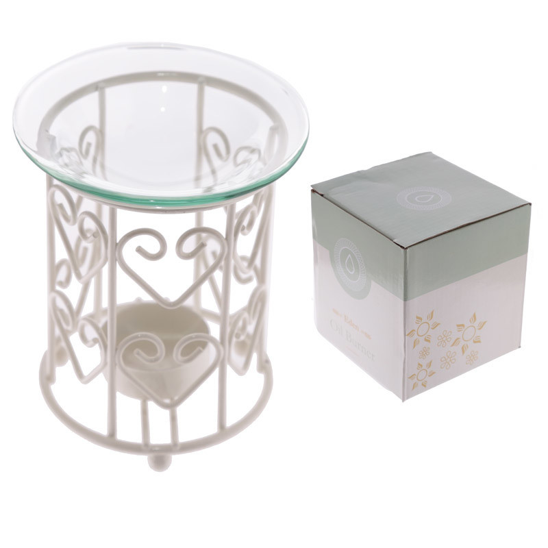 Metal Oil Burner with Glass Dish - White Love Hearts