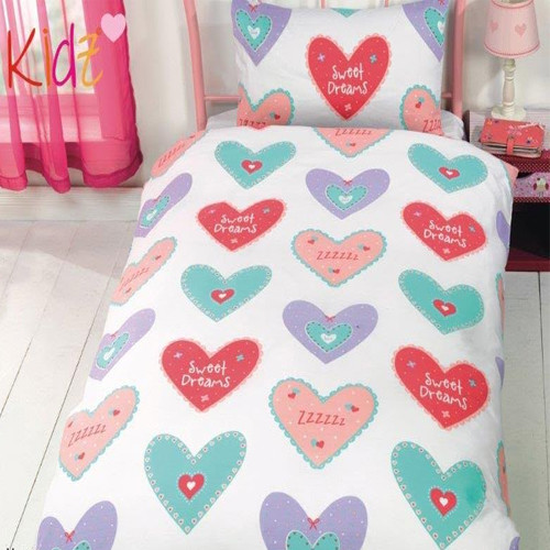 CHILDRENS FUN FILLED BEDDING - HEARTS