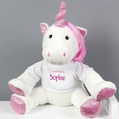 Personalised 'I Belong To' Plush Unicorn
