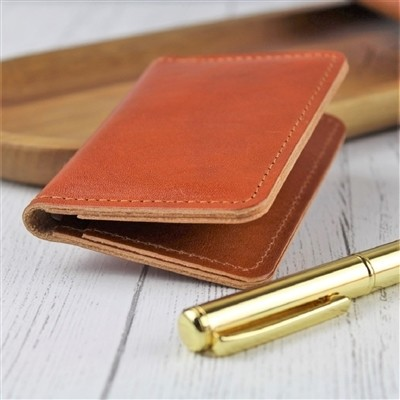 Initial Tan Leather Card Case