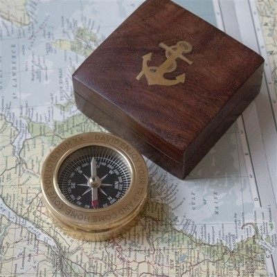 Personalised Brass Compass in Wood Box