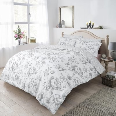 FLORAL GREY REVERSIBLE DUVET SET