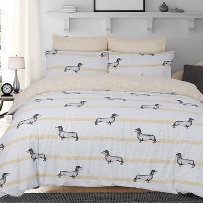 SAUSAGE DOG OCHRE REVERSIBLE DUVET SET