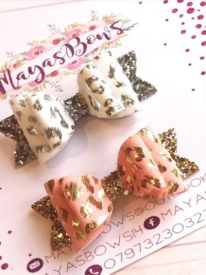 Maya's Bows - Pastel Leopard Print Suede Bows