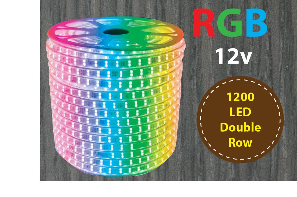 5m 12v RGB 5050  Double Row Flexible 600 LED Strip Light - Waterproof