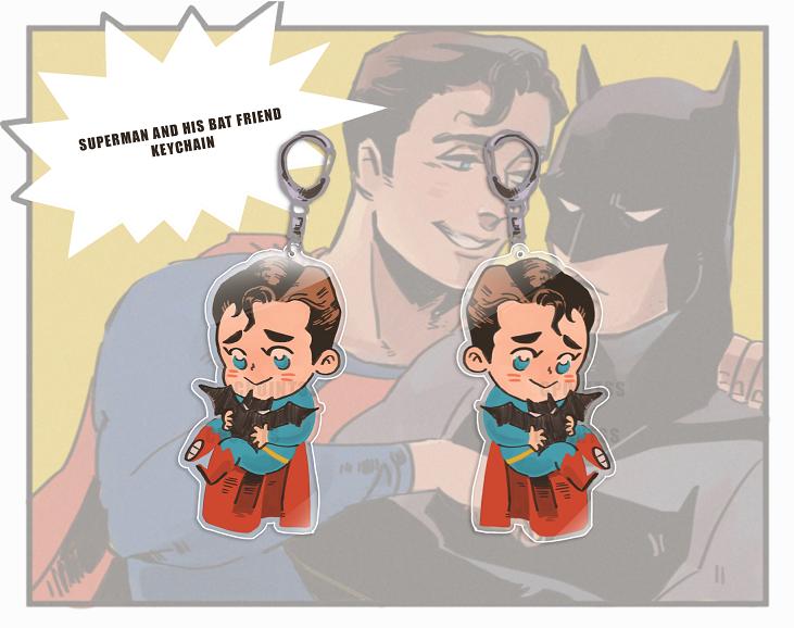 Superman and little Bat Charm