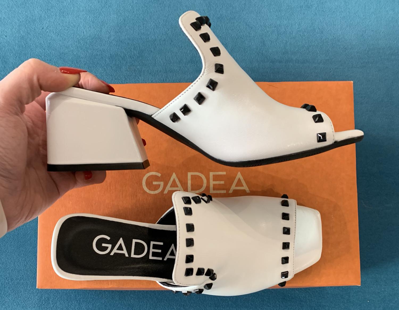 White Open Toe Mule Stud Detail