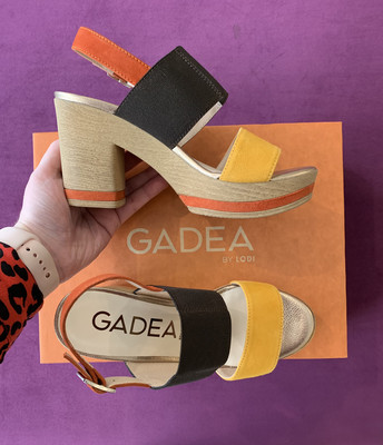 Mustard Chocolate And Burnt Orange Block Heel Sandal