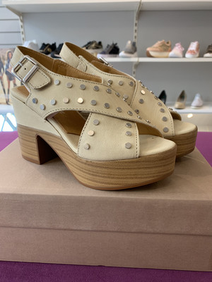 Ivory Criss Cross Studded Sandal