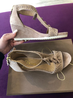 Baby Silk Nude Fringed Wedge