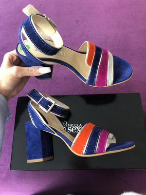 4658 Navy Multi Coloured Block Heel Sandal