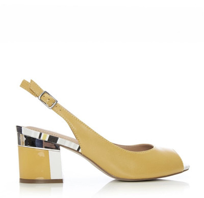 Delila Yellow Leather Multi Block Heel Peep Sandal