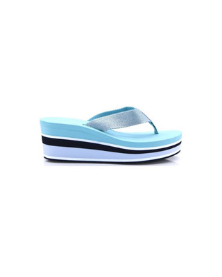Aqua Haze High Wedge Metallic Beach Sandal