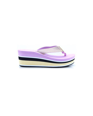 Pink Lavender High Wedge Metallic Beach Sandal