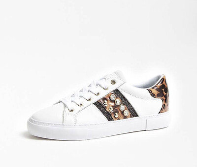 White Leather Trainer With Leopard Detail