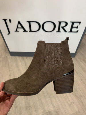 Taupe Suede Ankle Boot With Diamante Detail