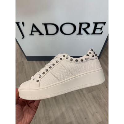 Belle White Snake Sneaker