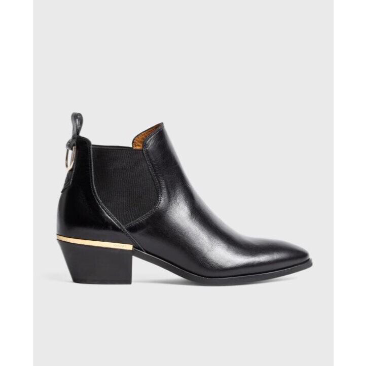 Lizzi Black Leather Ankle Boot
