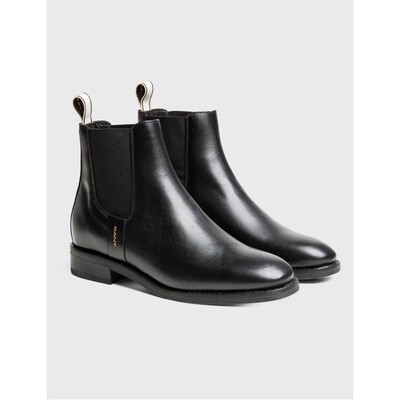 Fay Black Leather Ankle Boot