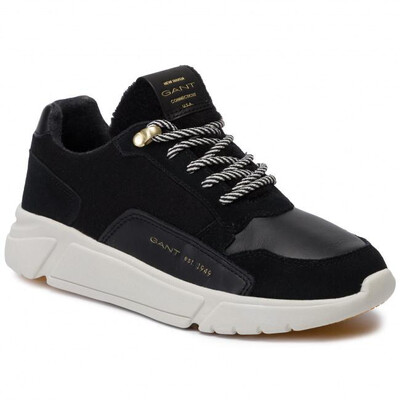 Madison Black Suede Leather Trainer