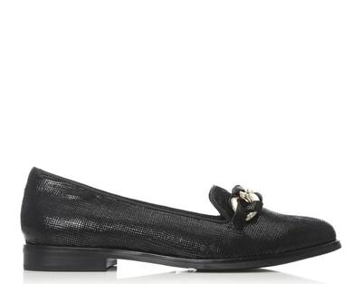 Elony Black Lizard Chain Front Tab Slipper Shoe