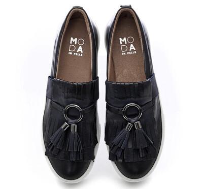 Ardena Navy Leather Tassle Fringe Twin Gusset