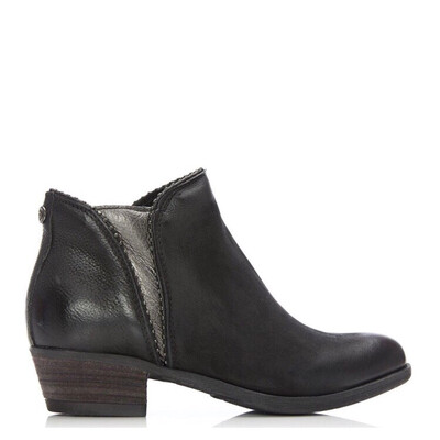 Better Black Leather Studded Edge Ankle Boot