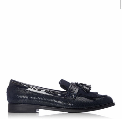 Elainie Navy Suede Tassle Loafer With Chains