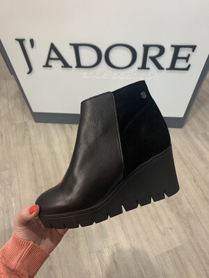 Black Wedge Ankle Boot with Suede Detail