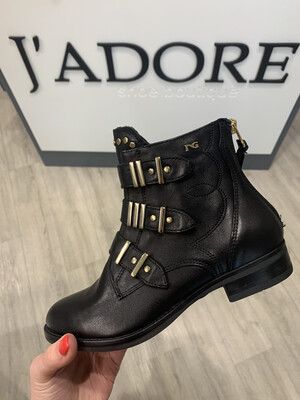 Black Biker Boot With Gold Detail