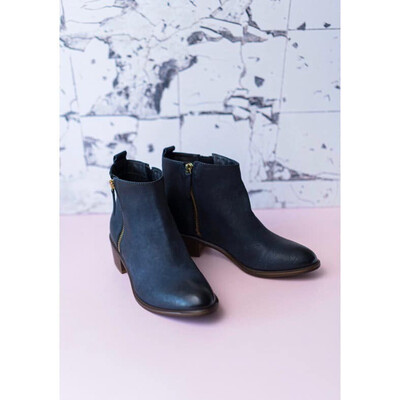 Saluki Dark Blue Double Zip Ankle Boot