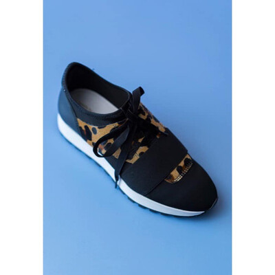 Juliette L Black Trainer With Leopard Detail