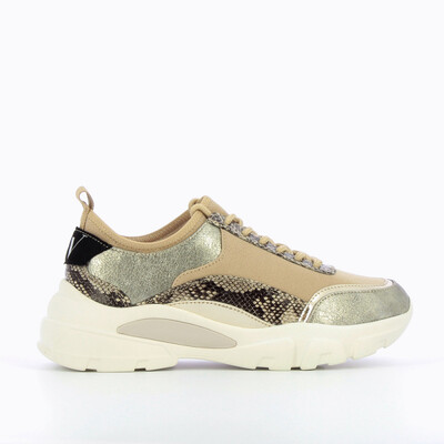 Beige Sneaker With Integrated Tongue