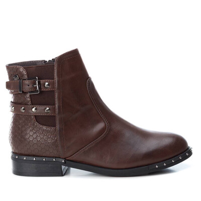 Brown Ankle Boot With Buckle Strap