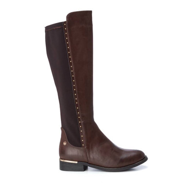 Brown Knee High Boot With Studs