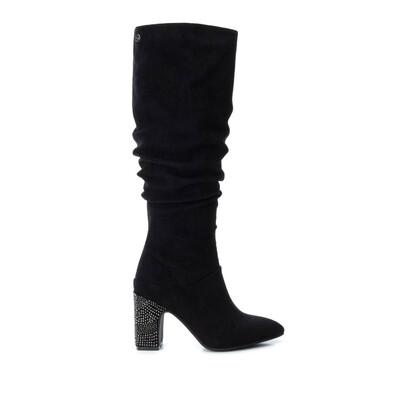 Black Knee High Jewelled Heel Boot